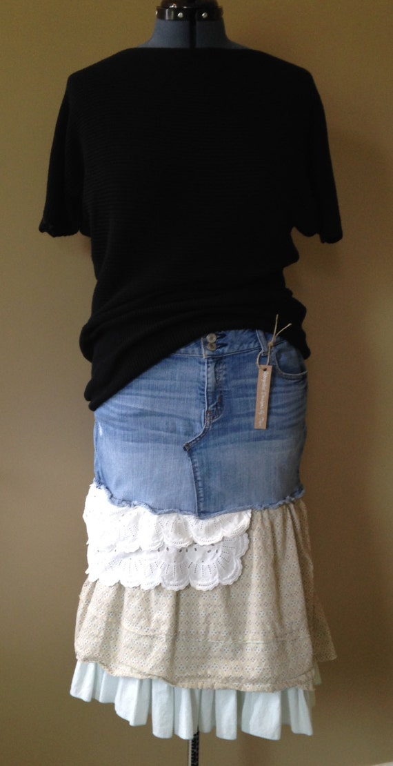 upcycled denim bohemian style jean skirt size 14