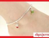 Multi coloured silver diamante stone gems ankle chain Anklet Indian Bollywood style payal pair