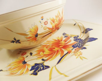 Vintage Mikasa charger plate and serving bowl set-Continental Ivory F4005 Majestic-1980's-orange and cobalt blue flower motif-serving wear