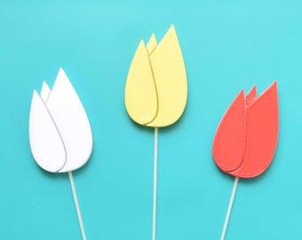 10 x Tulip Cake Toppers - Available in multiple colours - Tops of Melbourne
