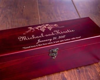 Wine Box Wedding Ceremony, Personalized Box, Blank or Engraved, Cherry Red Wood, Wedding Box, Craft Wine DIY Box