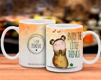 Cup/Mug illustrated with Japanese Kokeshi ENJOY