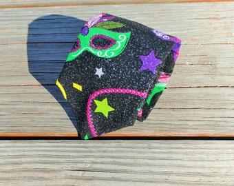 Mardi Gras Necktie, Mardi Gras Masks, Mardi Gras Beads, Stars, Glitter, Black Necktie