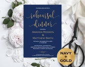Navy and gold wedding invitation  Rehearsal dinner invitation   Navy Blue Wedding  Modern Script  Downloadable wedding WDH0151