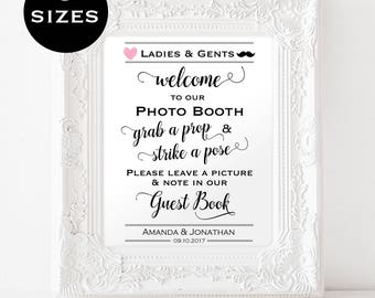 Photo Booth Wedding Sign - PDF Instant Download -  Sign for Photo Booth - Grab a prop and strike a pose - Downloadable wedding #WDH8121099