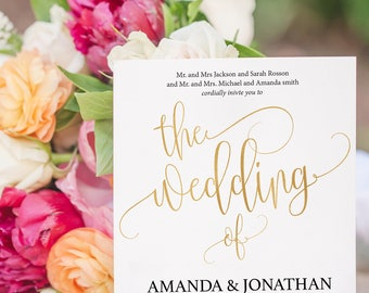 Gold Wedding Invitation - The Wedding Of Invite - Gold Wedding Template - Simple and Wedding Invitation -Downloadable wedding #WDH8121223