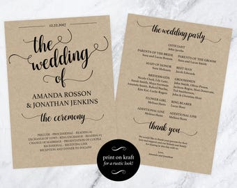 Wedding Program Template Download - Printable Ceremony - Order of Service - Kraft Program - Downloadable Wedding #WDH812233