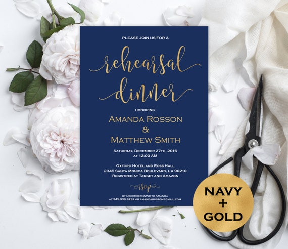 Navy and gold wedding invitation - Rehearsal dinner invitation -  Navy Blue Wedding - Modern Script - Downloadable wedding #WDH0151