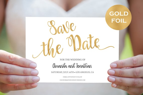 Gold and White Wedding Save The Date Template - Printable Wedding - Gold Save The Date Cards -Downloadable Wedding  #WDH871231