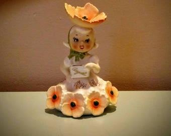 Napco Flower Girl Figurine-Birthday Girl-August
