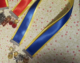 Blue and yellow Beauty and the Beast inspired ribbon bookmark. Handmade ribbon bookmark