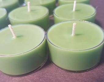 12 Green Soy Wax Tea Light Candles.
