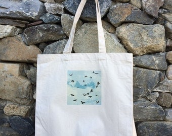 Bag Tote blue mountains and birds