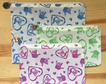 American Sign Language (ASL) Lined Zipper Pouch, Blue, Green or Purple
