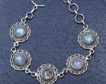 Rainbow Moonstone Bracelet Sterling Silver Bracelet Gemstone Bracelet Genuine Moonstone Jewelry -Crystal Birthday Gift Bracelet -S844