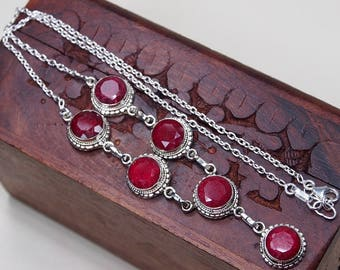 """Genuine Ruby Necklace,Ruby Pendant,Large Gemstone,40 Anniversary Gift,Ruby Solitaire,Beautiful Necklace,Bihls 18"""""""