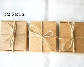 Kraft boxes -Soap boxes -10 sets -with hemp rope & tags -Kraft jewelry box -Kraft gift box -Soap packaging -Packaging box -Party favor box