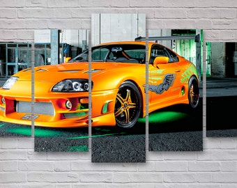 Toyota Supra - Fast And Furious 5 Piece / Panel Canvas  - Wall Art - Office - Bedroom Wall Art - Multi Panel - #051