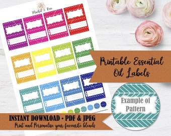 Printable Essential Oil Labels - 10ml Rollerball Labels Herringbone Pattern in Bright Rainbow Colors