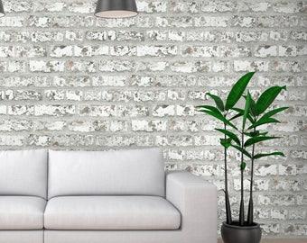 Warwick Photo Realistic Brick Effect Wallpaper White