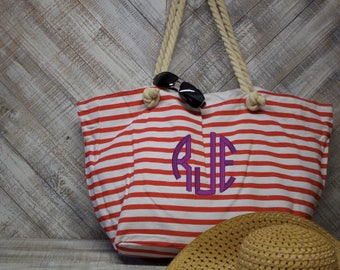 SALE! Personalized Nautical Thin Striped Tote with Rope Handles