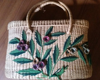 1950s Woven  floral basket with handles & lid