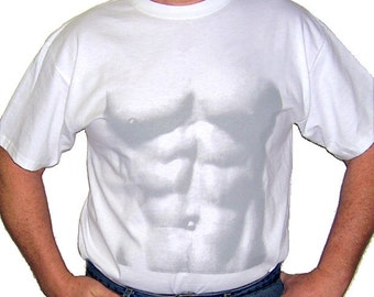 Halloween Costume ABS T-SHIRT Muscle Man Bodybuilder Shirt -Simulates fake ABS