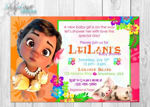 Baby Moana Baby Shower Invitation