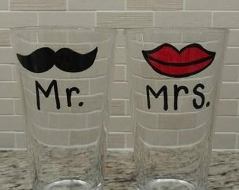 Mr. and Mrs. Pint glasses
