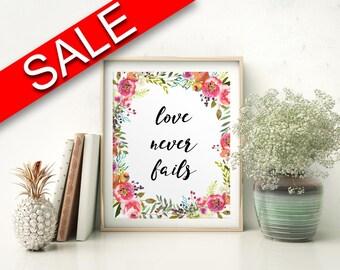 Wall Art Love Never Fails Digital Print Love Never Fails Poster Art Love Never Fails Wall Art Print Love Never Fails Living Room Art Love