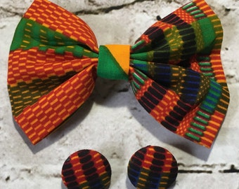 Beautiful African Print Ankara Kente Hair Bow/Hair Barrette & Earring Set