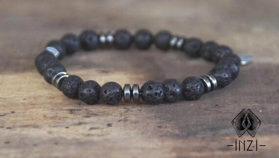 Man bracelet in lava stone and hematite 8 mm INZ - I - Stan