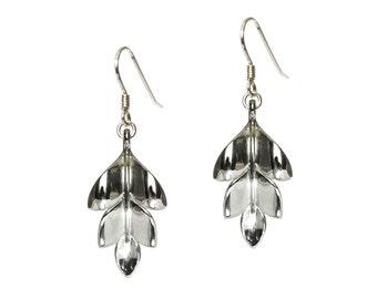 Earrings leaf, plant earrings, silver leaf earrings, sterling silver