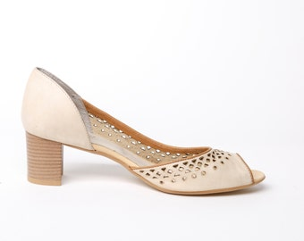 Leather women's high heel shoes beige, heeled leather shoes, pumps laser cut decorated leather shoes, official womens shoes beige heels