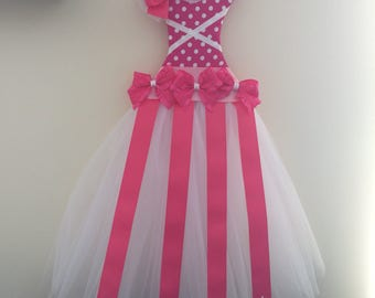Hot pink polka dot tulle dress bow holder