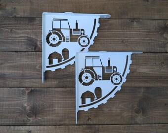 2x Modern tractor shelf bracket (2 brackets for complete shelf mounting, without shelf)