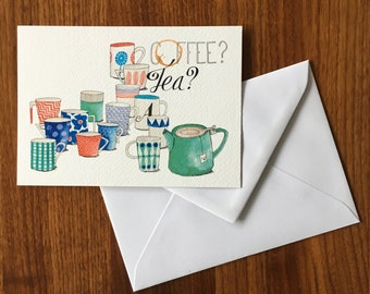 Coffee? Tea? -greeting card illustration by Anke van Horne-blank rear-includes envelope