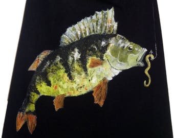 MADE to order. Hungry Perch, hand painted cooking apron, universal size, textile paint