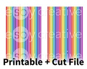 Rainbow - Thin Washi Printable Planner Stickers for Erin Condren Horizontal + Cut File - HK-023 - INSTANT DOWNLOAD