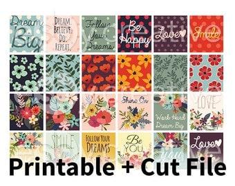 Deco Quote Box Planner Stickers - for Erin Condren Horizontal Printable INSTANT DOWNLOAD - HK-004