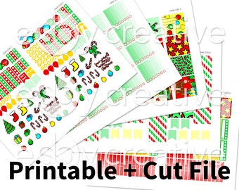 Christmas Theme - Weekly Sticker Kit Printable for Erin Condren Horizontal - HWK-035 - INSTANT DOWNLOAD