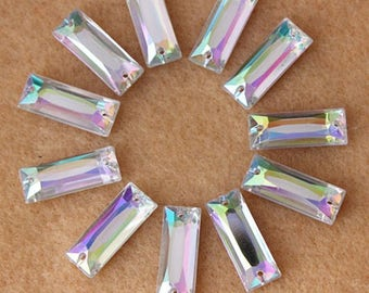 100PCS 7*18mm Clear Color Rectangular Flatback Acrylic Rhinestone Crystal Stone For Clothes Craft Decorations Sew on 2Hole
