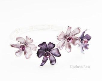Purple and Lilac Floral Bracelet, Lilac Bridesmaids Jewelry, Purple Flower Bracelet, Floral Stretch Bracelet, Purple Bridesmaid Bracelet