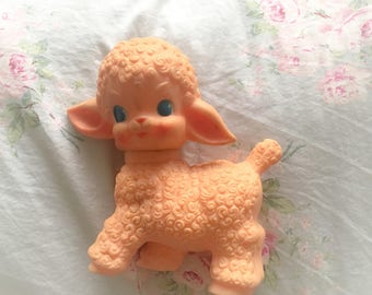 vintage 1950's sun rubber co. pink lamb squeaky toy