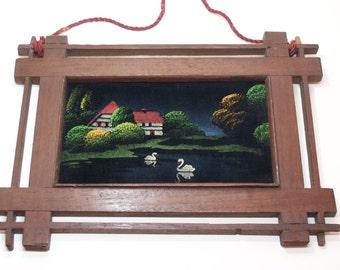 vintage original framed painting on velvet, swan lake