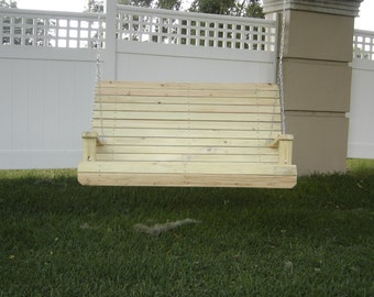 handmade 4ft  high back porch swing, wooden swing, outdoor furniture, patio furniture,