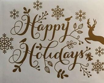 Happy Holidays Vinyl Wall Decal Art Print