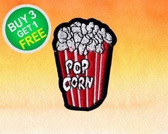 Popcorn Patches Food Set Patches Patch Iron On Patch Embroidered Patches