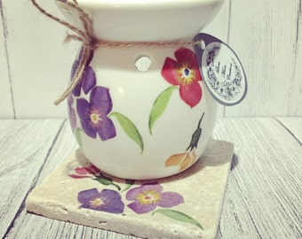 Hand decorated wax burner optional matching natural stone stand.