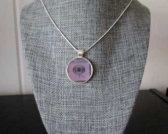 Recycled vinyl record sleeve necklace - Columbia Records!""